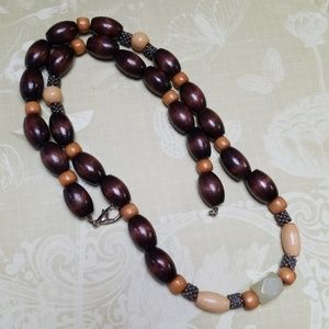 Vintage Necklace Wood Beads Boho Festival Hippie